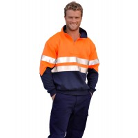 SW14 Men's High Visibility Long Sleeve Fleecy Sweat With Collar & 3M Tapes